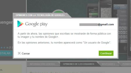 Las opiniones que se publiquen en Google Play aparecerán con el nombre y la foto que tiene el usuario en Google+