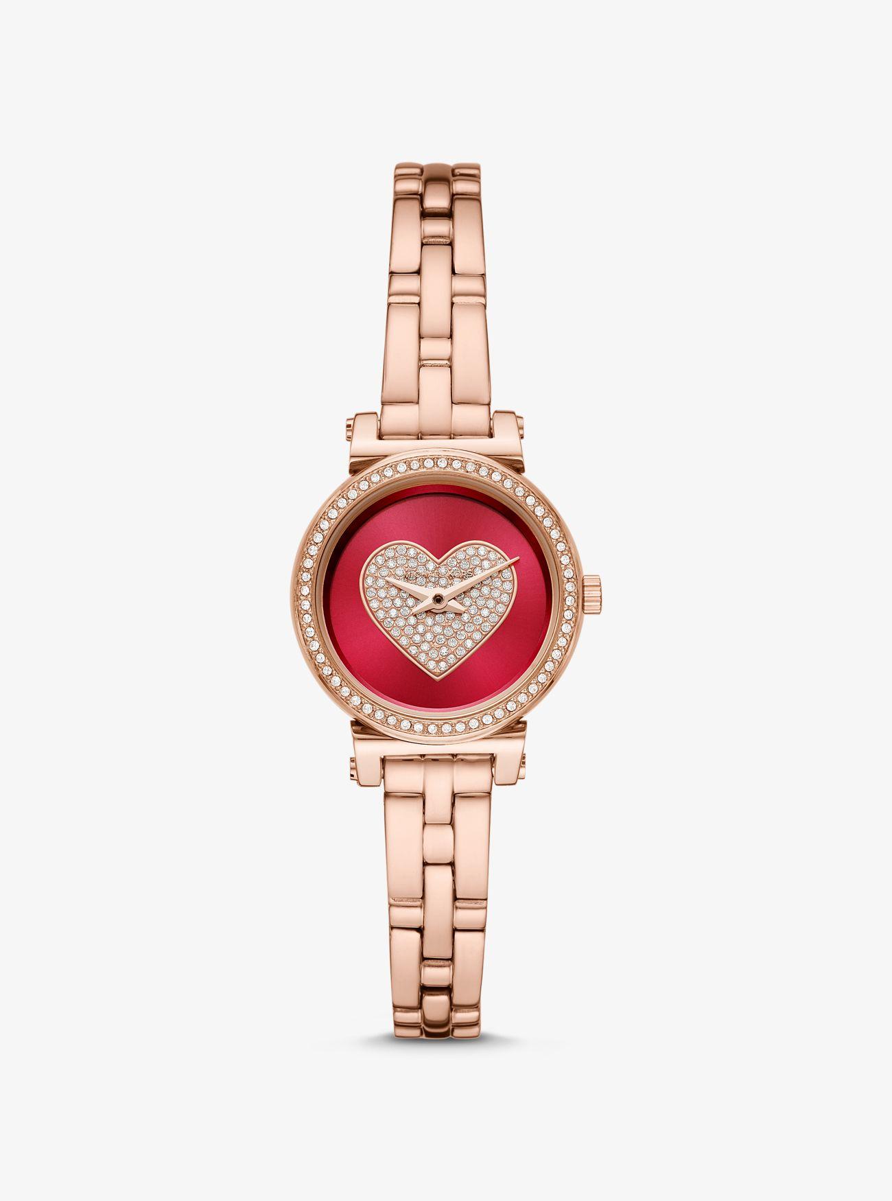 Reloj Sofie petite en tono dorado rosa con corazón