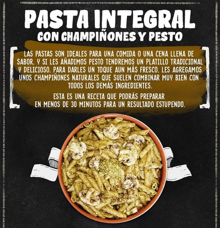 Pasta Integral con champiñones y pesto