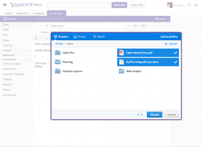 Yahoo! Mail integrado con Dropbox