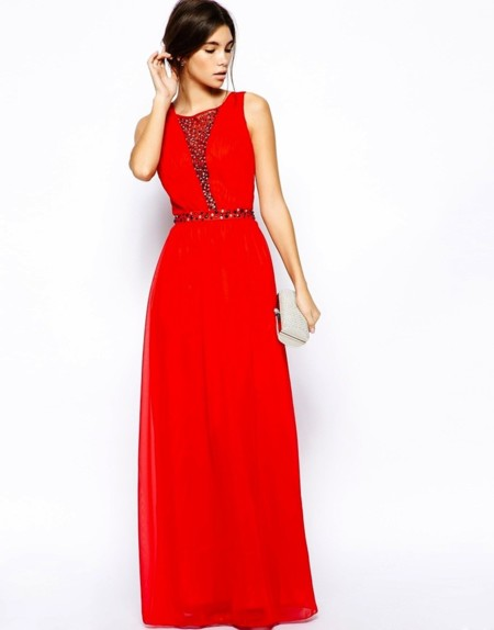 vestido rojo abalorios