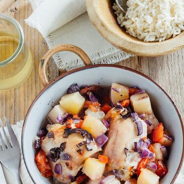 Muslos de pollo al horno con piña. Receta para el Otoño