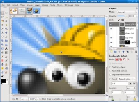 Primeras capturas de la nueva ventana única de GIMP