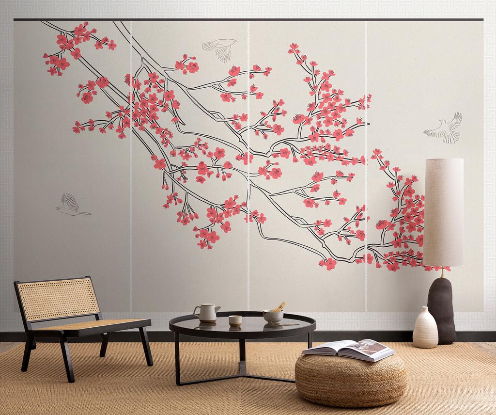Inspirados en la cultura japonesa, estos nuevos papeles pintados recuerdan a los cerezos en flor