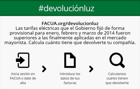 FACUA: #devoluciónluz un simulador para calcular los reembolsos que deben realizar las eléctricas