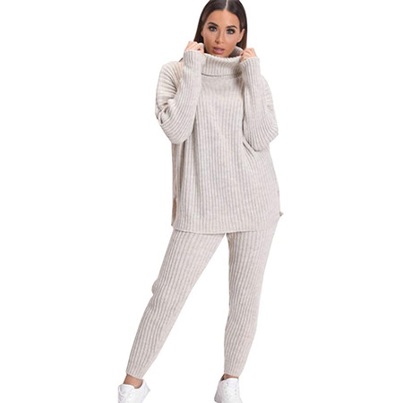 A H Fashion Conjunto De Pantalon Polo De Punto Grueso Para Mujer Con Cuello Alto Y LegginsA&H Fashion Conjunto de pantalón Polo de Punto Grueso para Mujer con Cuello Alto y Leggins