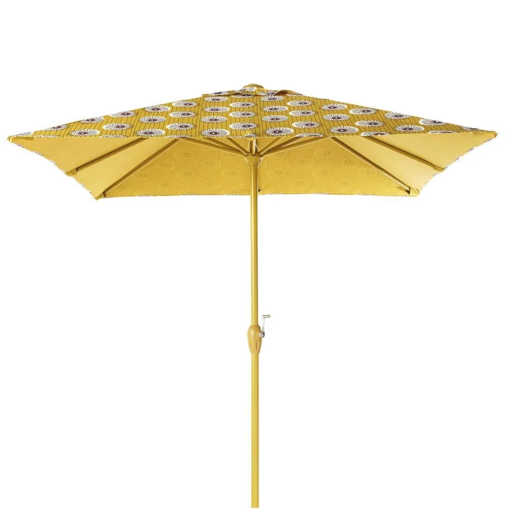 PALAVAS.- Sombrilla de aluminio y tela con motivos decorativos amarillos y negros