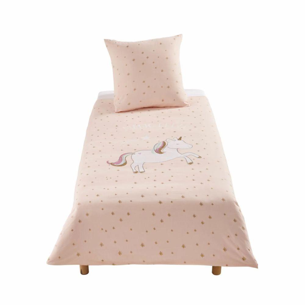 Juego de cama infantil de algodón rosa con motivos decorativos de estrellas doradas 140x200