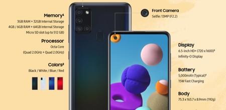 Samsung Galaxy A21s: más potencia fotográfica y más batería para el nuevo económico de Samsung