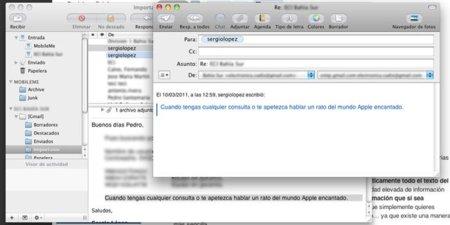 Seleccionar texto para incluir en nuevo correo en Mail
