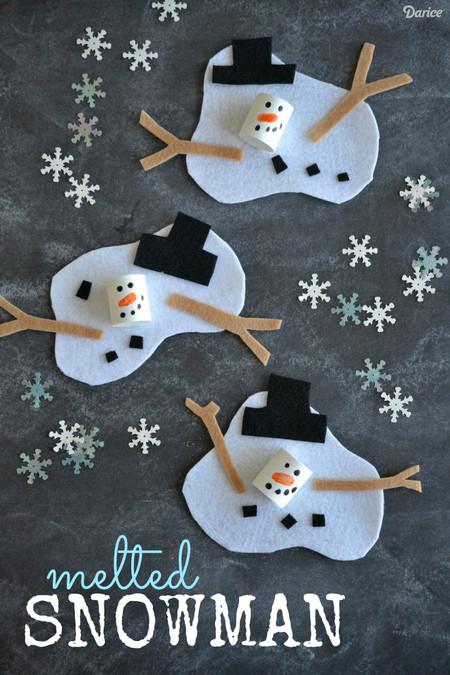 Manualidades Invierno Munecos Nieve Fieltro