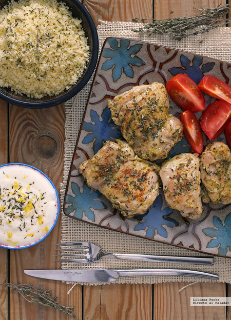 Contramuslos de pollo al aroma de Oriente Medio. Receta sabrosísima y fácil