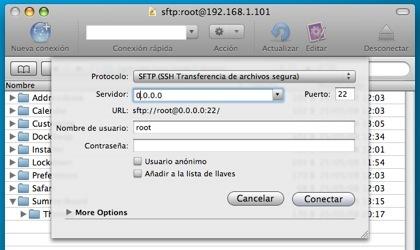conexion SSH al iPhone con Cyberduck