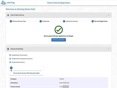 Web de configuración del hub Starling Home