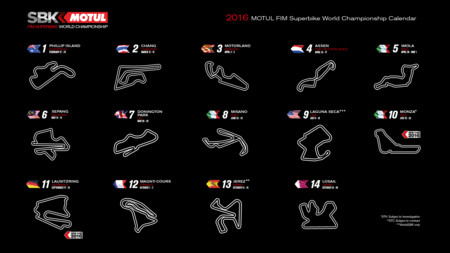 Calendario provisional del Mundial de Superbikes 2016