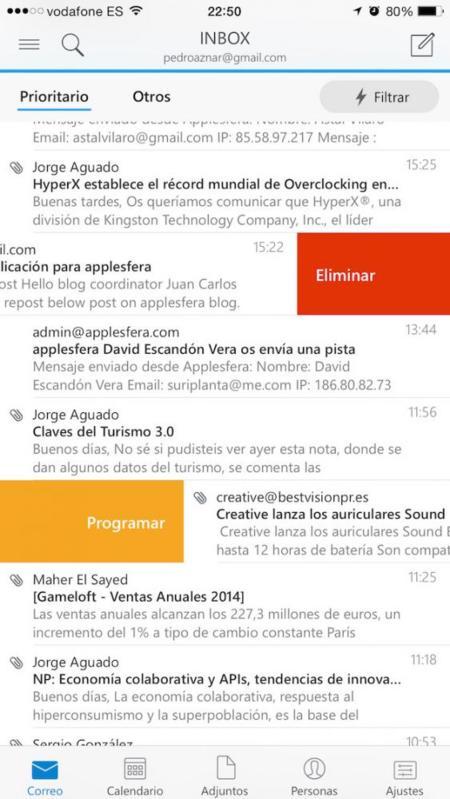 Outlook Ios Análisis Pantalla Deslizar