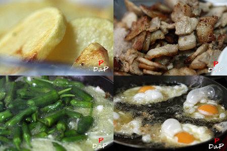 Huevos, panceta, pimientos del padrón y patatas dólar. Receta