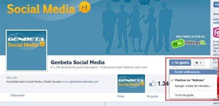 Facebook permitirá a los usuarios decidir si quieren recibir notificaciones de las páginas de empresa