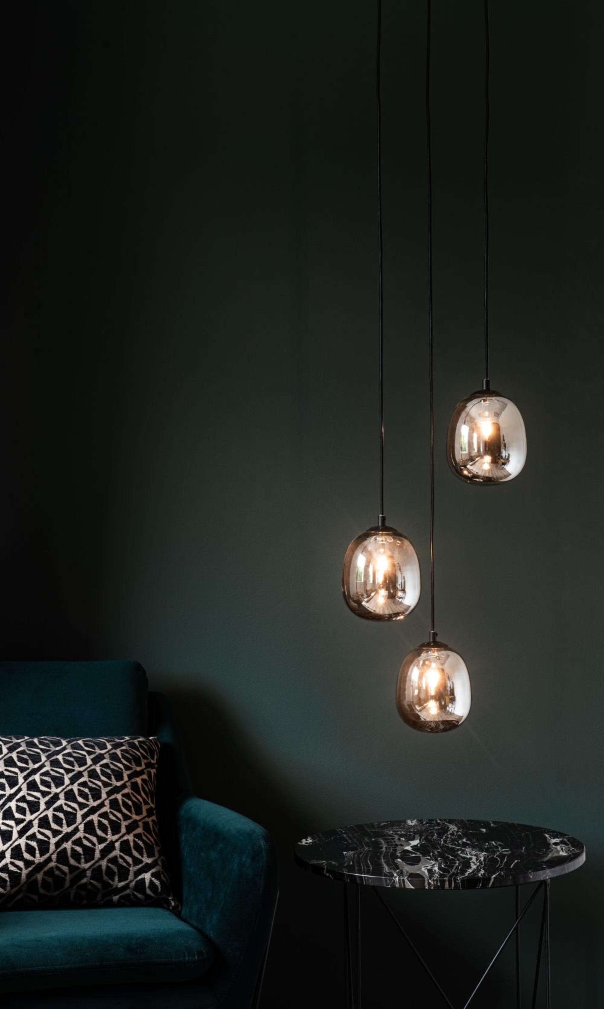 Lámpara de techo triple de cristal ahumado