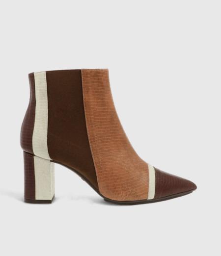 Zapatos Regalo 1Botines de mujer Lodi en piel combinada con detalle de tacón geométrico