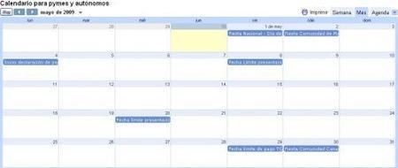 Calendario para pymes y autónomos del mes de mayo 2009