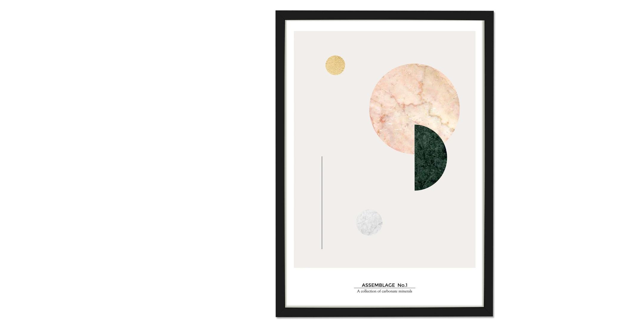 Assemblage  Lámina de arte Assemblage Colección 1, 50 x 70, mármol y pan de oro