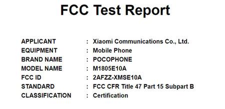 Xiaomi Pocophone Fcc
