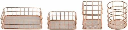 Conjunto de 4 cestas de oro rosa | Organizador de escritorio Rose Gold | Cesta de almacenamiento de metal | Cesta de alambre de oro rosa | Accesorios de escritorio de oro rosa | M&W