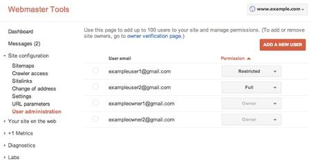 Google Webmaster Tools permite añadir usuarios con distintos privilegios