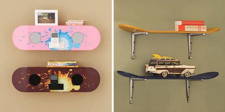 decorando con tablas de skate - ipod y estantería