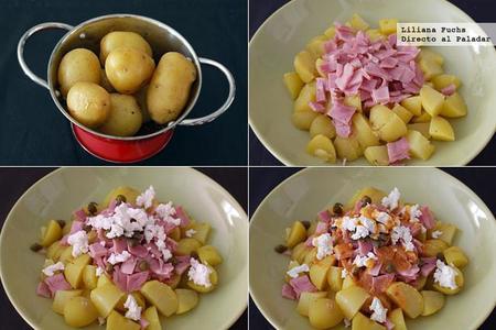 Ensalada de patata con lacón y queso de cabra. Pasos