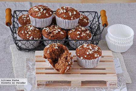 Muffins de puré de manzana y avena con leche de almendras. Receta