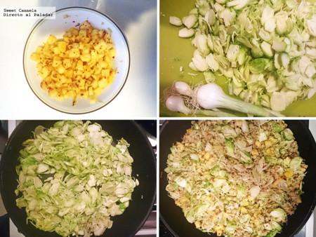 Preparación arroz frita con verduras y piña