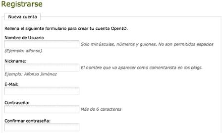 Registrarse en Open Id
