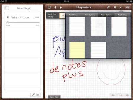 Opciones de papel en Notes Plus