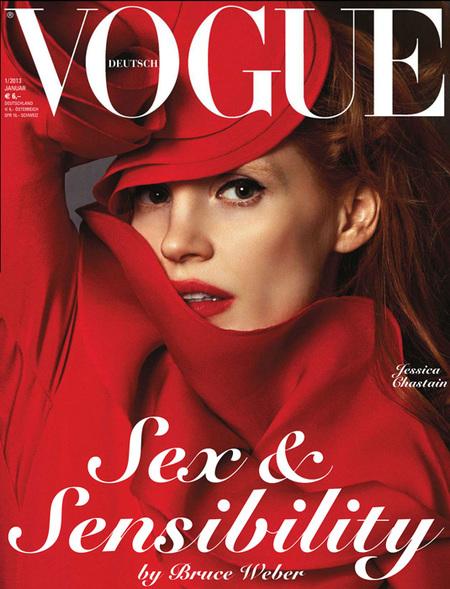 Jessica Chastain del rojo de Vogue, a las cuatro portadas de W Magazine