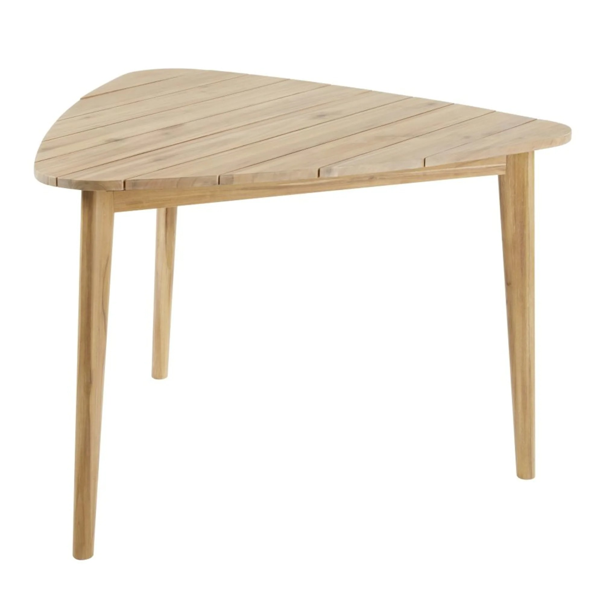 Mesa de jardín triangular de acacia maciza para 3 personas L 110