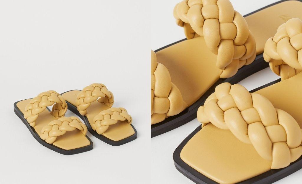 Sandalias trenzadas en color amarillo
