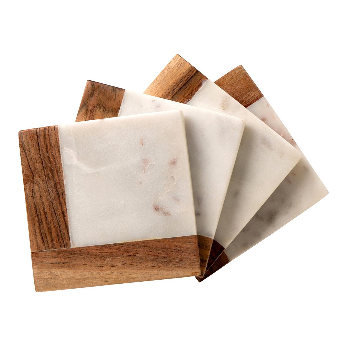 Juego de 4 posavasos de mármol y madera Marwood El Corte Inglés