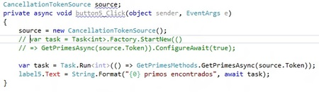 Ejemplo Async con await con Cancel