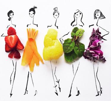 Ilustraciones de moda hechas con frutas y verduras