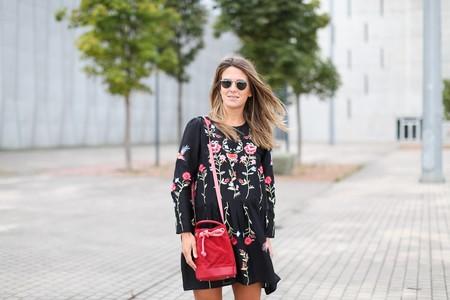 Vestido flores rojas zara