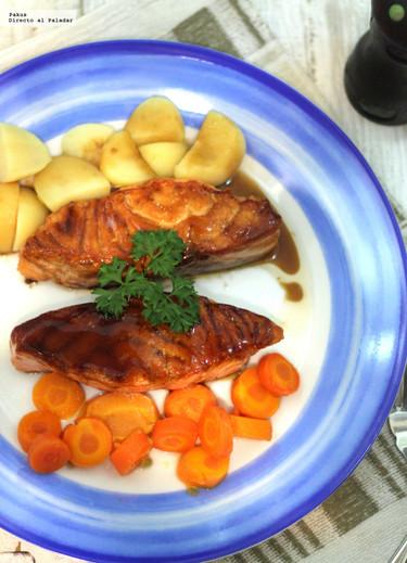 Salmón noruego glaseado con sake y teriyaki. Receta sencilla de pescado con toque oriental