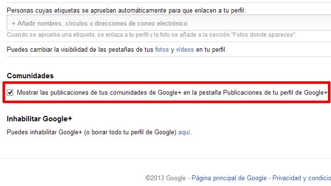 Ya es posible ocultar en nuestro perfil de Google+ lo que publicamos en las comunidades