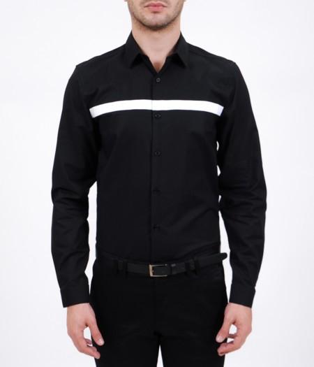 Camisa Negra Con Detalle En Contraste De Lob