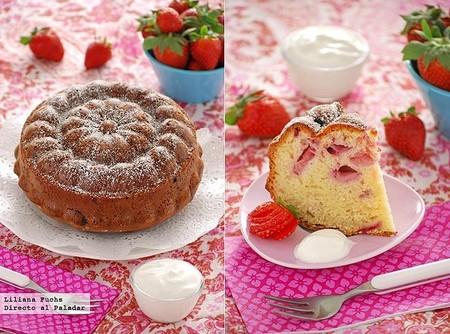 Receta de bizcocho suave de fresas y yogur griego