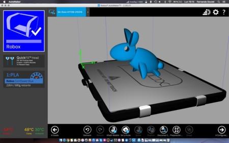Detalle del software de impresión AutoMaker