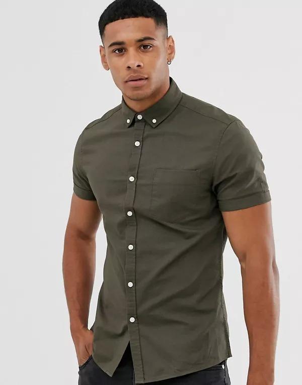 Camisa Oxford ajustada en caqui de ASOS DESIGN