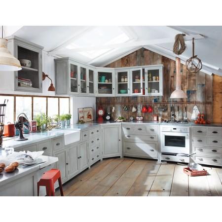 Mueble Bajo De Cocina Esquinero De Hevea Gris L 99 Cm 1000 13 30 140824 5