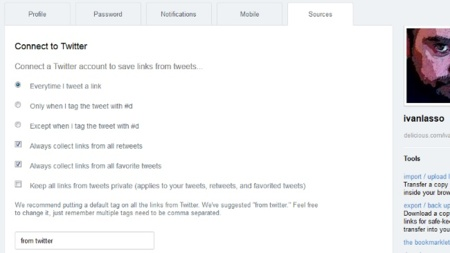 Guarda automáticamente en Delicious los enlaces que publiques en Twitter